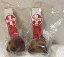 Dog Heads Fuzzy Nation Dachshund Magnets Lot Of (2) Pcs MG-169 Brown