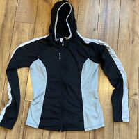 Reebok Womens Medium Full Zip Black Gray Hoodie Running Active Wear Jacket