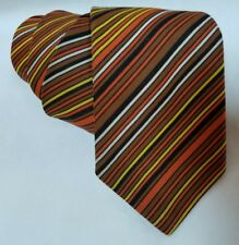 Vintage Striped Diagonal Fall Colored Men's Necktie Candy Corn Halloween Colors
