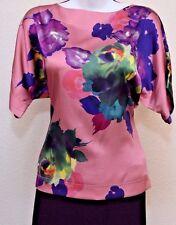ST.JOHN Amazing Womens Pink Purple Green Floral Silk Top Sz  P
