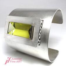 Designer-Armreif - offen - 925er Sterlingsilber - großer Lemonquarz - 102,6 g