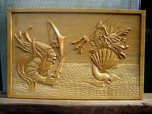Wooden plaque Poseidon's Battle with the Titans helped by Cyclopes Magic Trident