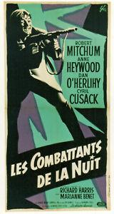 LES COMBATTANTS de la NUIT -1960-AFFICHE-R.MITCHUM-T.GARNETT-40X80 cm-ON LINNEN