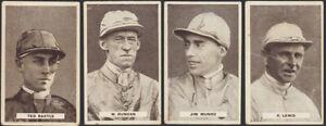 JOCKEYS: 1932 Sweetacres Champion Chewing Gum cards X 4 VGC