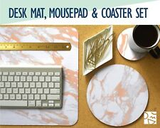 Rose Gold and White Marble Desk Mat, Mouse Pad & Coaster Set -Desk Accessory