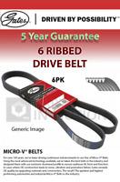 6 Rib Multi V Drive Belt fits PEUGEOT 108 1.2 2014 on Gates 16112049 1611204980