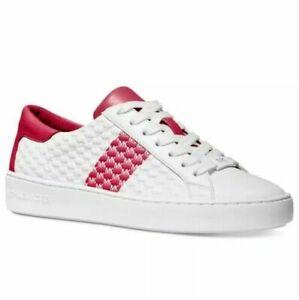 NIB Size 7.5 Michael Kors Colby Striped Logo Embossed Leather Sneaker Raspberry