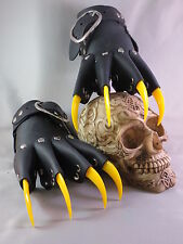 Black Leather Yellow Claw Gauntlets Gothic Gloves