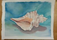 """Conch 1"" Original Watercolor Painting RAMfish Artist Ocean Seashell Beach"