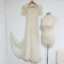 Antique Edwardian Wedding Dress Early 20th Century Lace Chiffons Satin Long Dres