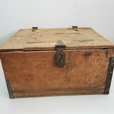 Vintage Reinforced Wooden Crate Box With Hinged Lid and Latch Rustic Primitive