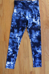 Justice Girls' Blue Tie Dye Full Length Leggings with Wide Comfort Waistband
