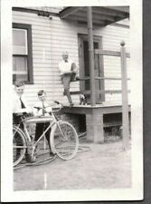 Vintage Photograph Toy Wagon/Bicycle Boys Boston Terrier Dog Canada Old Photo