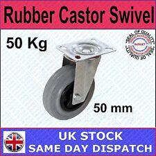 FIXMAN Rubber Castor Swivel with Brake 50mm 50kg Ironmongery Castors-413608