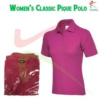 Womens Classic Pique Polo Shirt Ladies Plain Short Sleeve TOP Hot Pink XS S M 2X