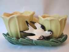 DBL CACHE POT PLANTER! Vintage McCOY ART pottery: gloss YELLOW SWALLOW: exc