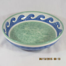 Villeroy & Boch Blue Waves bowl pasta serving round white blue waves green bands