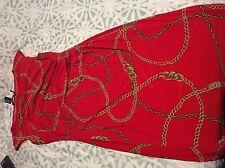 New Ralph Lauren Equestrian Gold Chain Print Formal Red Multi Dress Sz 8