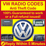 VOLKSWAGEN VW RADIO CODE Beta,Gamma,RCD 200 210 215 300 310 510 Anti Theft Code