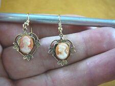 (cme71-2) CLASSIC WOMAN HAIR orange + ivory CAMEO brass heart earrings Jewelry