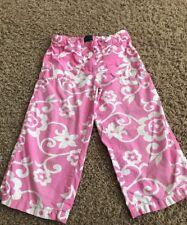 Mini Boden Girl's Pink Floral Cropped Capri Pants Size 7-8 Y