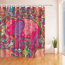 The India Elephant Decor Bathroom Shower Curtain Fabric w/12 Hooks 71""