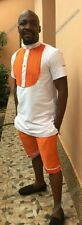 Odeneho Wear Men's White / Orange Top & Shorts. African Clothing . SZ XL