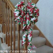 "10"" WIDE SATIN POINSETTIA BOW~CHRISTMAS DECORATION~WREATHS~PARTIES~TREE TOPPER"