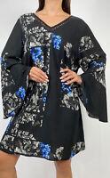 CITY CHIC Blue Black Floral Print Bell Sleeve Shift Dress Plus Size L AU 20 Boho