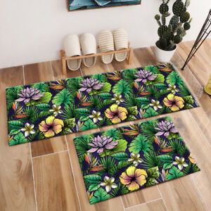 Tropical Green Leaves Floral Pattern Area Rugs Bedroom Living Room Floor Mat Rug