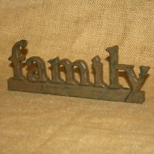 Family Resin Word Brown Tabletop Shelf Sitter Country Home Decor