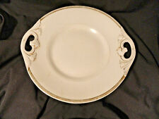 White & Gold Antique Porcelain Cabinet Plate 2 Handled Serving Dish 9 5/8 inch