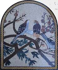 "50"" Handmade Beautiful Birds On Floral Tree Branch Home Decor Marble Mosaic Art"