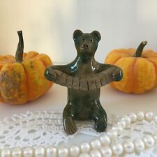 Glazed ceramic Romanov clay toy Whistle, Bear Russian traditional souvenir Gift