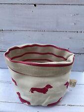 Emily Bond Pink Dachshund Fabric / Ian Mankin Pink Stripe Storage Basket - New