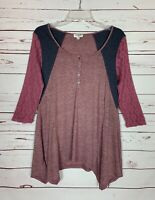 Umgee Boutique Women's S Small Mauve Gray Pink Lace 3/4 Sleeves Spring Top Shirt