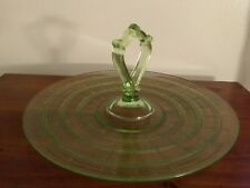 """Lovely Green Depression Glass Serving Dish with Center Handle ~ 12"""" diameter"""