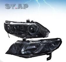 Fit 06-11 Honda Civic 4 Door Headlight Smoke / HeadLamp Clear Corner Reflector