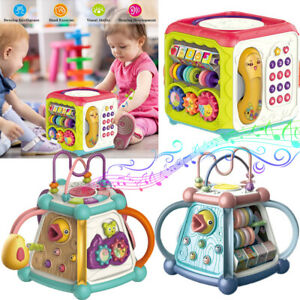 Baby Early Education Activity Puzzle Cube, Shape Sorter, Blocks Musical Toy 18M+
