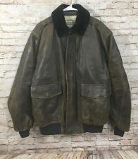 LL BEAN Goatskin Shearling Lined Leather Bomber Jacket Men's Size LARGE Regular