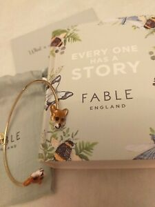 Fable Enamel Fox Bangle. New With Box, Pouch and gift card. Beautiful Gift.