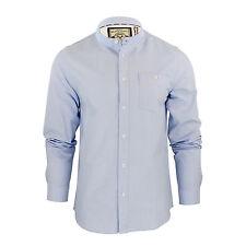 Mens Shirt Brave Soul Augustus Long Sleeve Oxford Cotton Grandad Collar Sky Blue Medium