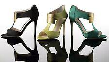 NIB $625 Coye NOKES Cleopatra sandals heels satin shoes Emerald 36,5 EU US 6,5