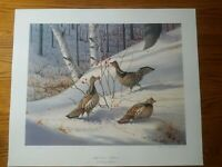Ruffed Grouse Hollyberries Owen J Gromme Limited Edition Print 1983 HS