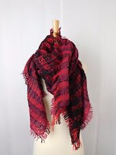 Collection XIIX Oversize Knit Blanket Wrap Scarf Purple Henna Plaid #5764
