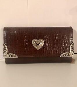 Designer Inspired 100% Leather Checkbook Size Wallet Silver Heart 🤍