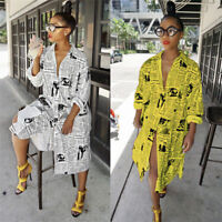 Fashion Newspaper Print Womens Long Sleeve Coat Button Casual Street Shirt Dress