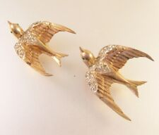 CORO CRAFT Swallow Bird Duette Sterling Silver Fur Clips Brooch Rhinestones 1940