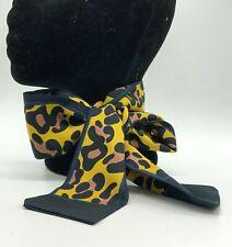 Hair Scarf/Hair Tie/ Headband/Neck Scarf, Mustard, Black & Pink Animal Print New