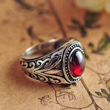 Men's 925 Sterling Silver Ring Garnet Black Agate Old Vine Jewelry Size 6 to 12